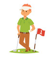 golf player man and accessories golfing vector image vector image