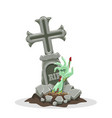 grave and zombie hand vector image
