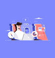 guy sitting on aircraft seat in plane vector image vector image