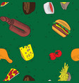 hand drawn doodle food seamless patterns green vector image