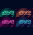 happy new year 2020 neon flashing design vector image vector image