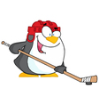 Happy Penguin Playing Ice Hockey vector image