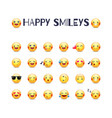 happy smileys icon set joy emoticons vector image vector image