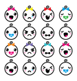 Kawaii baby boy and girl cute faces icons set vector image