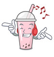 listening music raspberry bubble tea character vector image vector image