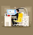 man sitting at computer vector image