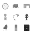 Office furniture and interior set icons in vector image vector image