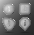 Pencil Glass buttons vector image vector image