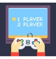 Retro Games Player Hands Joystick TV Monitor vector image vector image