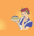 retro smiling housewife holding big cake in her vector image