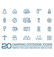 set camping camp elements and outdoor activity vector image vector image