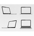 set laptop with transparent screen perspective vector image vector image