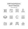 set line icons of orthopedic mattress vector image