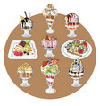 set of ice cream on white vector image