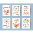 set vintage mothers day greeting card mothers vector image vector image