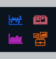stock analysis money diagram and education icons vector image