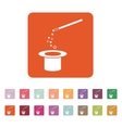 The magic wand and hat icon Trick symbol Flat vector image