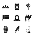 UAE country icons set simple style vector image vector image