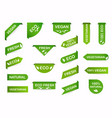 vegan mark labels organic food labels fresh eco vector image