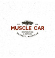vintage muscle car garage logo vector image