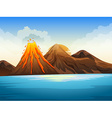 volcano eruption lake vector image
