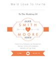 Wedding invitation orange style vector image vector image