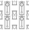 grandfather clock and hourglass black and white vector image