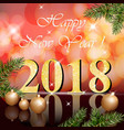 2018 happy new year card red vector image