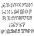 3d sketch font alphabet vector image
