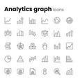 analytics graph chart icon set vector image