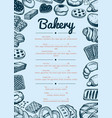 bakery hand drawn cafe menu template vector image