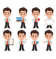 business man cartoon character set of eight cute vector image vector image