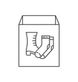 cardboard box with shoes and socks icon linear vector image vector image