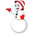 cartoon snowman presenting vector image