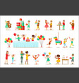children birthday party set of scenes vector image vector image