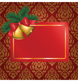 Christmas card with gold bells vector image