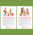 christmas holiday shopping family web pages set vector image vector image