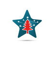 creative star logo with pine tree inside vector image
