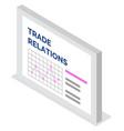 data analysis trade relations presentation vector image vector image