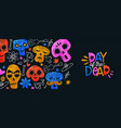 day dead banner colorful watercolor skull vector image vector image