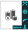 dollars money coin icon flat vector image