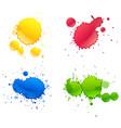 four different colors paints splash on white vector image