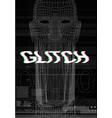 glitch screen face man who screams vector image vector image