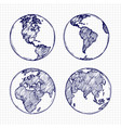 globe sketch hand drawn earth planet with vector image