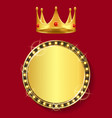 golden banner with empty space crown with gem vector image vector image