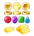 golden coins bars brilliants vector image vector image