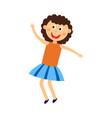 happy kid girl dancing jumping and having fun vector image vector image