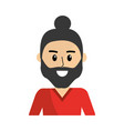 happy man with beard design and hairstyle vector image vector image