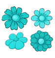 isolated set flowers in blue color vector image
