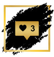 like and comment sign golden icon at vector image vector image